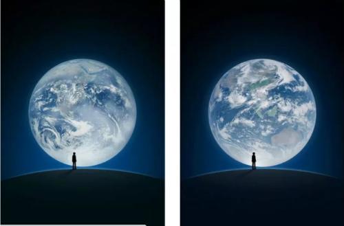 Ảnh bên trái được chụp bởi NASA trong khi ảnh bên phải chụp bởi vệ tinh Trung Quốc.